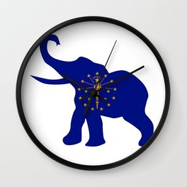 Indiana Republican Elephant Flag Wall Clock