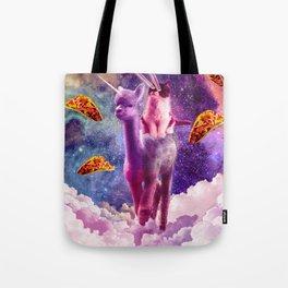 Cosmic Cat Riding Alpaca Unicorn Tote Bag