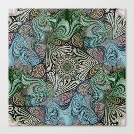 Labyrinth Mandala Blue Green Grey Canvas Print
