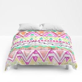 Watercolor Aztec Pattern Pink Comforters