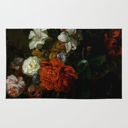 "Ernest Stuven ""Poppies, lilies, roses and other flowers in a glass vase on a draped marble ledge"" Rug"