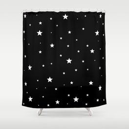 Scattered Stars - white on black Shower Curtain