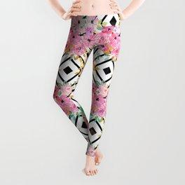 Watercolor floral and geometric diamond design Leggings