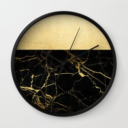 Gold and Black Marble Wall Clock