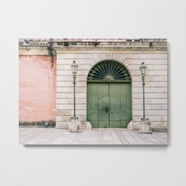 Old wooden green doors in Italy | Wanderlust travel photography art Metal Print