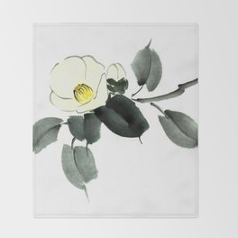 White camellia sumi ink and japanese watercolor painting Throw Blanket
