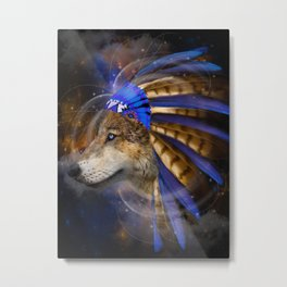 Fight For What You Love (Chief of Dreams: Wolf) Tribe Series Metal Print