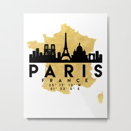 PARIS FRANCE SILHOUETTE SKYLINE MAP ART Metal Print