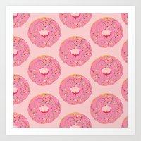 doughnut Art Prints featuring Doughnut by Inbeeswax