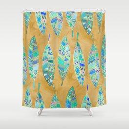 Jeweled Enamel Leaves on Tan Shower Curtain