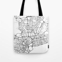 Singapore Map, Singapore - Black and White Tote Bag