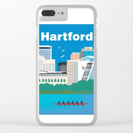 Hartford, Connecticut - Skyline Illustration by Loose Petals Clear iPhone Case