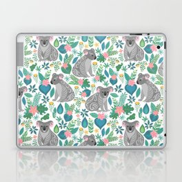 Cute gray koalas with ornaments, tropical flowers and leaves. Seamless tropical pattern. Laptop & iPad Skin