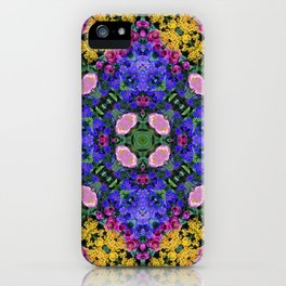 Floral Spectacular: Blue, Plum and Gold - repeating pattern, diamond, Olbrich Botanical Gardens, Mad iPhone Case
