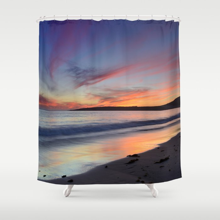"""Bolonia beach at sunset"" Shower Curtain"