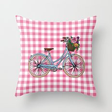 Her Bicycle Throw Pillow