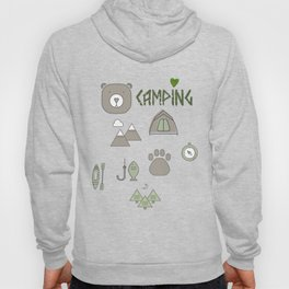 Camping Collage with Bear Tent Mountains and More Hoody