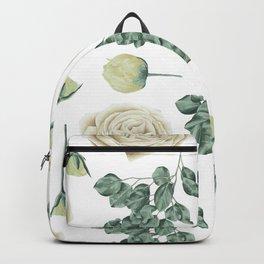 Flower Shop Ivory Cream Roses Pattern Backpack