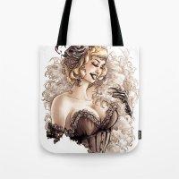 burlesque Tote Bags featuring Burlesque by Simona Bonafini
