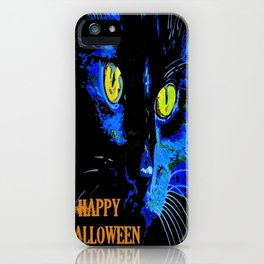 Black Cat Portrait with Happy Halloween Greeting  iPhone Case