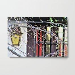 Window behind tree branches Metal Print
