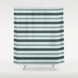 Night Watch Color of the Year Thick and Thin Horizontal Stripes on Cave Pearl Light Mint Green Shower Curtain
