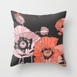 poppies in pinks and reds Throw Pillow
