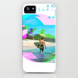 GLITCH NATURE #108: We surfed at the point break off of Lombok island in Indonesia. There is nothing to do at this break besides surf, eat, and sleep. iPhone Case