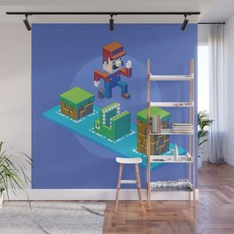 Isometric Mario pixel art Wall Mural