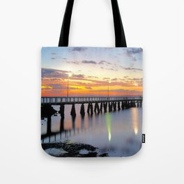 Wellington Point Jetty Sunrise Tote Bag