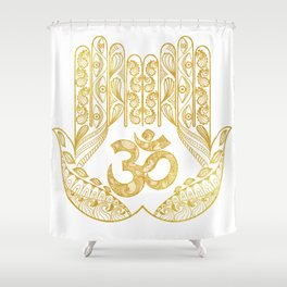 Hamsa - Om symbol Shower Curtain