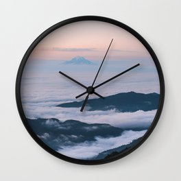 Mount Rainier Sunset Above the Clouds Wall Clock