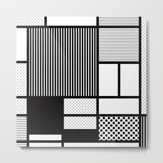 Composition With Black, Dots, Stripes & Black Metal Print
