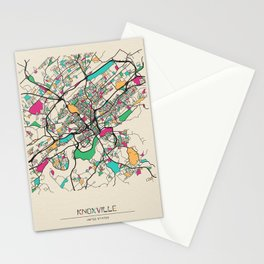 Colorful City Maps: Knoxville, Tennessee Stationery Cards