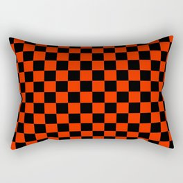 Black and Scarlet Red Checkerboard Rectangular Pillow