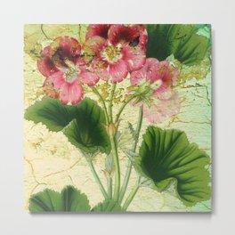 Crackled Floral Metal Print