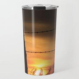 Kansas Sunset with fence Silhouette Travel Mug