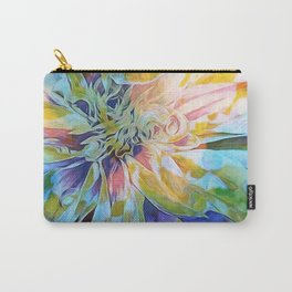 Rainbow Floral Blue Carry-All Pouch