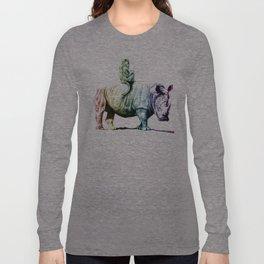Golden Monkey on a Rainbow Rhino by Aaron Bir Long Sleeve T-shirt