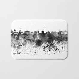 Berlin skyline in black watercolor Bath Mat