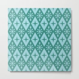 Mid Century Modern Atomic Triangle Pattern 711 Green and Blue Metal Print