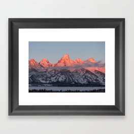 Glowing Pink Sunrise in Grand Teton National Park, Wyoming Framed Art Print