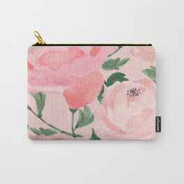 Watercolor Peonies with Blush Background Carry-All Pouch