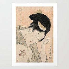 Vintage Japanese Ukiyo-e Woodblock Print Woman Portrait I Art Print
