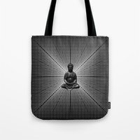 buddah Tote Bags featuring Spacial Energy Buddah Mesh by Federico Sananes