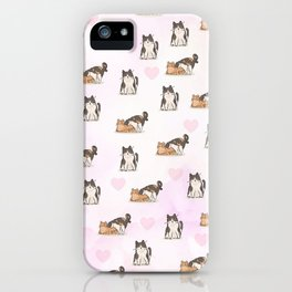 Cute Kittens & Hearts In Pink iPhone Case