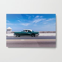 Vintage green car Metal Print