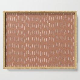 Boho Raindrops Abstract Pattern, Terracotta Serving Tray