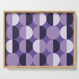 Retro circles grid purple Serving Tray