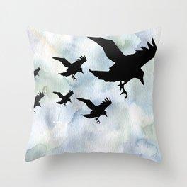Birds over Water | Crows flying | Abstract birds | Bird aesthtic Throw Pillow